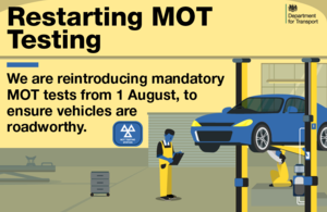 Mandatory MOT testing to be reintroduced from 1 August